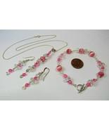 925 Sterling Silver Wire Wrapped Necklace Bracelet Earrings Set Pink Cat... - $26.71