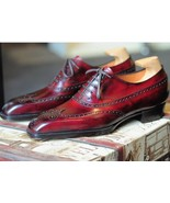 Handmade Men's Red Brogue Leather Shoes, Custom Made Formal Shoes - $179.99+