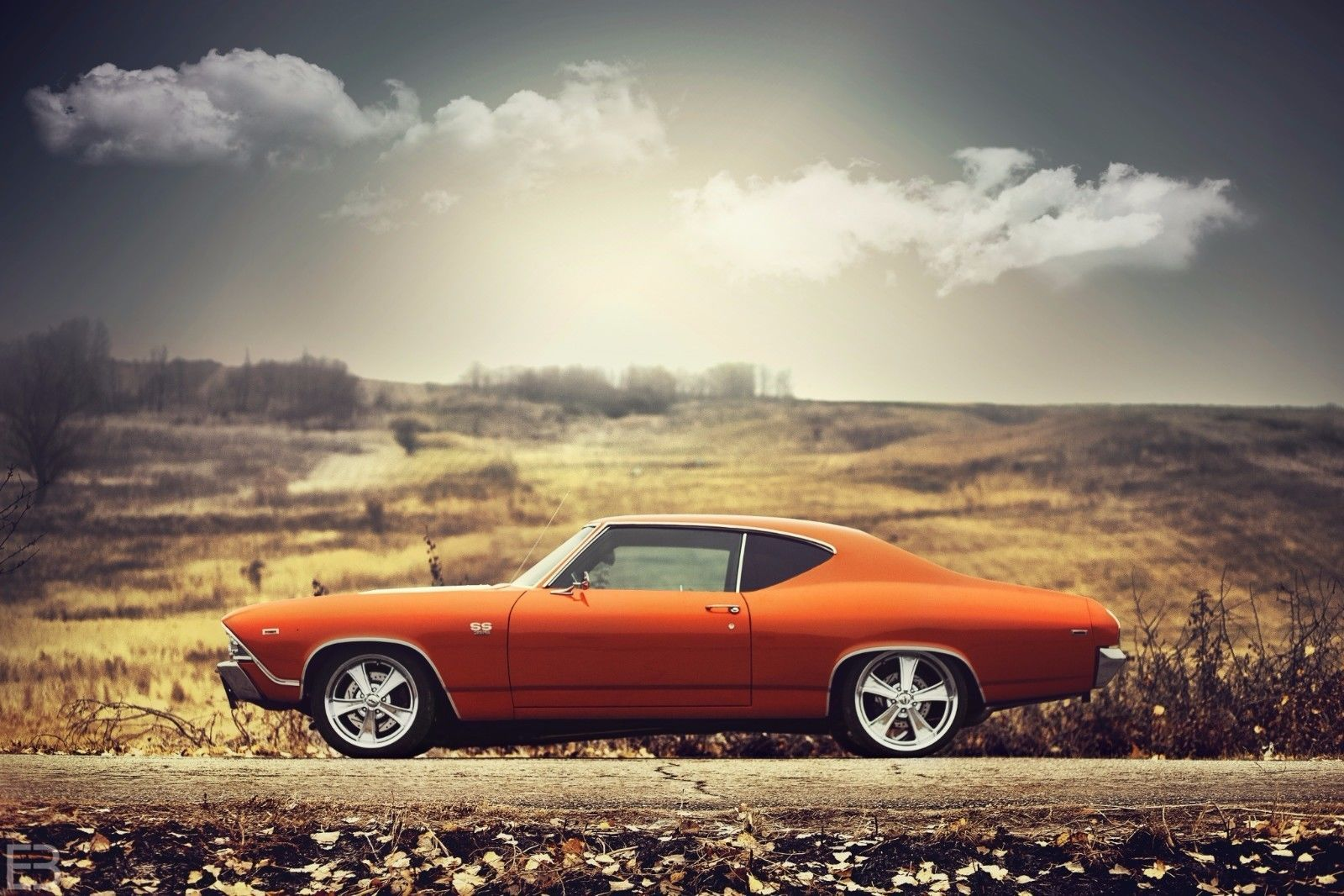 Primary image for 1969 Chevrolet Chevelle SS orange 24X36 inch poster, sports car, muscle car