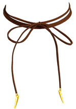 Lolusodesigns Long Thin Brown Suede Lace Boho Wrap Bow Tie Gold Spike Choker - $4.98