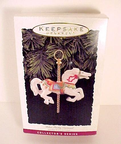 81422a hallmark tobin fraley carousel christmas tree ornament 1993 plus display stand