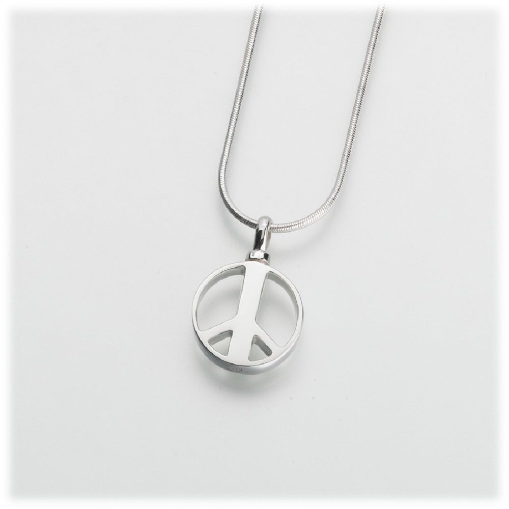 Sterling Silver Peace Sign Memorial Jewelry Pendant Funeral Cremation Urn
