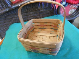 Great LONGABERGER Basket 1987 RC Handwoven with Handle - $16.42
