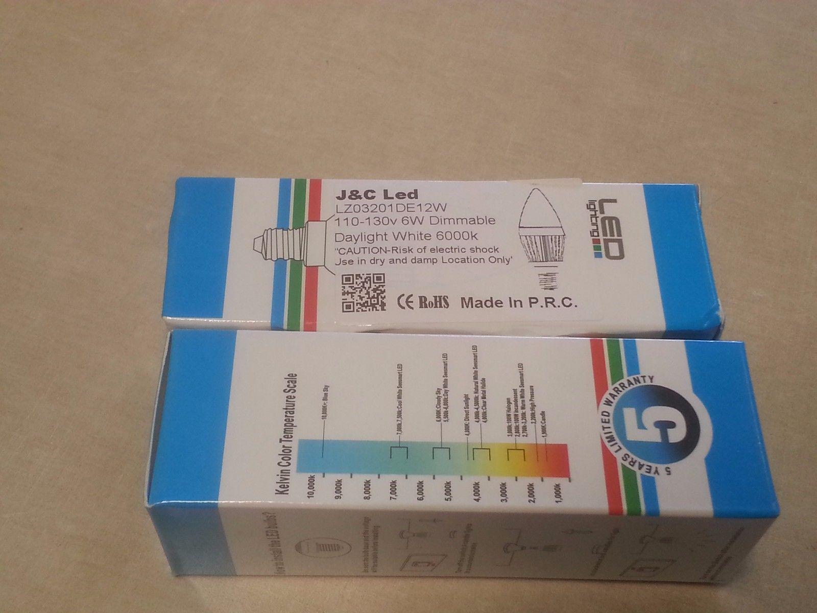 LOT OF 30 J&C LED 6W Torpedo Light Bulb 110-130V Daylight White (6000K)Dimmable