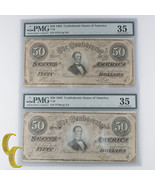 Lot of 2 SECUENCIALES 1864 Confederado graduado Por PMG COMO CH vf-35! A... - $398.38