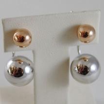 18K ROSE WHITE GOLD PENDANT EARRINGS ALTERNATE SPHERES BALL BALLS MADE IN ITALY image 1