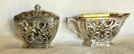 Godinger Neiman Marcus Silver Filigree Glass Insert Creamer & Sugar Bowl... - $49.50