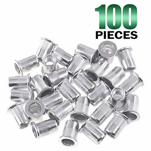 Keadic 100Pcs Aluminum Rivet Nut Metric Flat Head Threaded Insert Nutsert Kit -