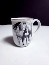 Otagiri Japan Mare & Foal Horse Coffee Mug Artist Darren J. Cook Gold Rim NICE - $7.91