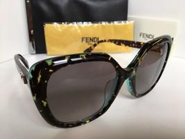 New FENDI 0107/F/S  D59EU 56mm Black Green Tortoise Women's Sunglasses - $189.99