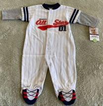 NEW Carters Boys White Blue Baseball Daddy Allstar Long Sleeve Pajamas 3 Months - $9.28
