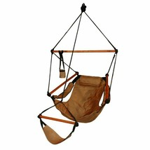 Outdoor Patio Porch Heavy Duty Hanging Hammock Air Chair Wood Dowels Nat... - $112.19