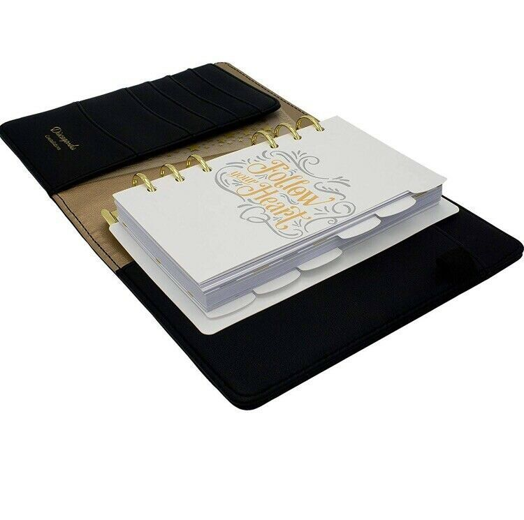 Primary image for Black & Gold Stars A6 Personal Ring bound Planner With Elastic Strap