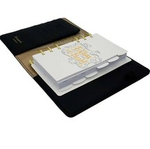 Black & Gold Stars A6 Personal Ring bound Planner With Elastic Strap - $60.76