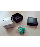 Avon Genuine Mother of Pearl Disc Ring Teal stretch expandable band - $12.00