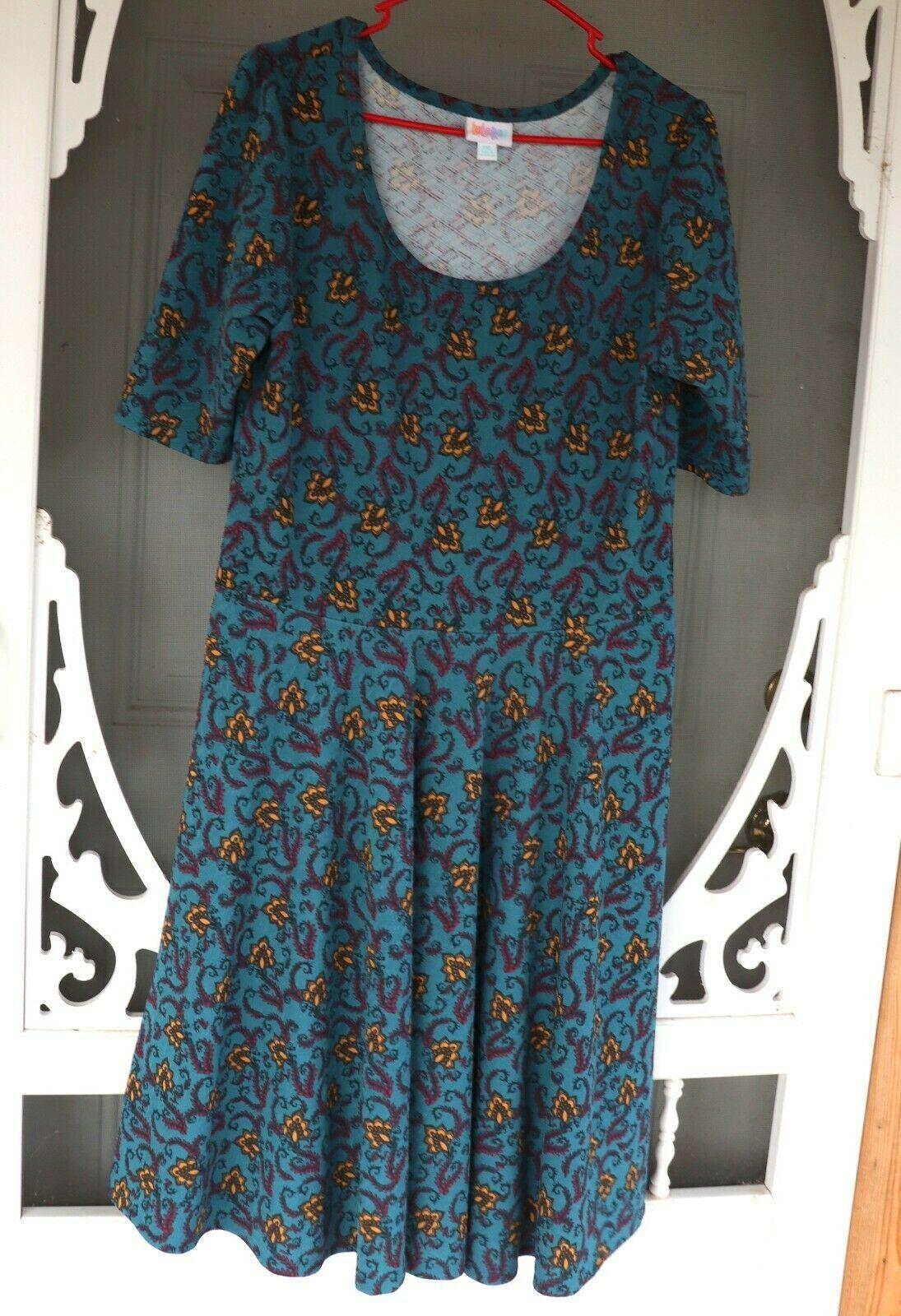 LulaRoe Teal Floral Print dress