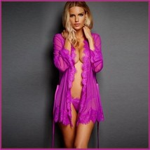 Erotic Purple Lace Trimmed Transparent Long Sleeve Belted Kimono Robe & G String image 1