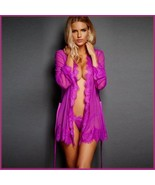 Erotic Purple Lace Trimmed Transparent Long Sleeve Belted Kimono Robe & ... - $58.95