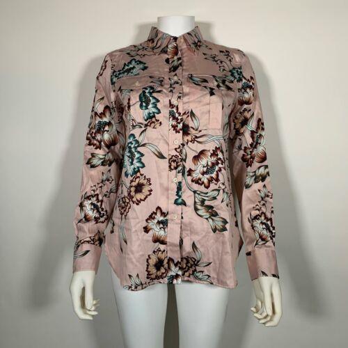 Lauren Ralph Lauren Top Blouse Floral Pink Cotton Button up Shirt Sz M NEW NWT