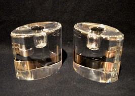 Pair Of Kosta Boda Signed Goran Warff Oval Glass Candle Holders Mid-Century - $59.40