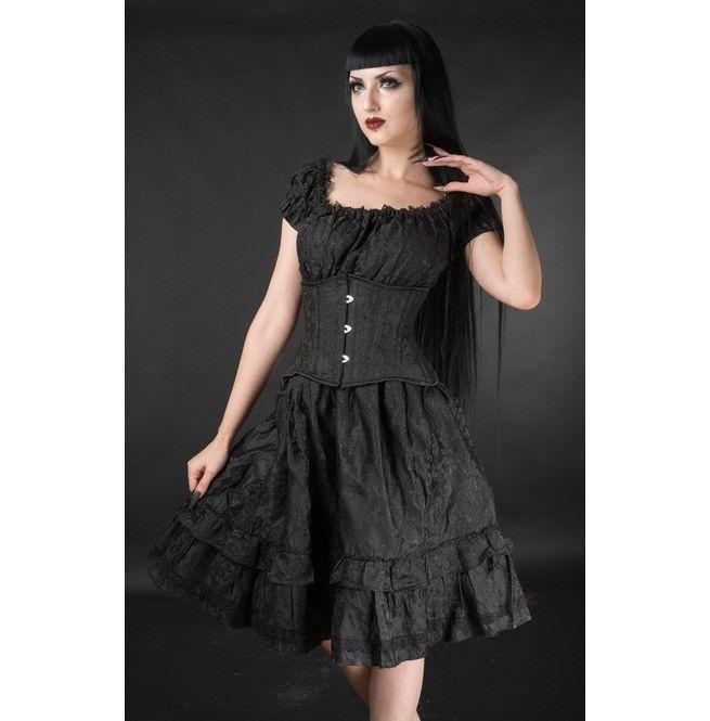 Black Brocade Gothic Rockabilly Pirate Ruffle Corset Dress Gothabilly Mid Length