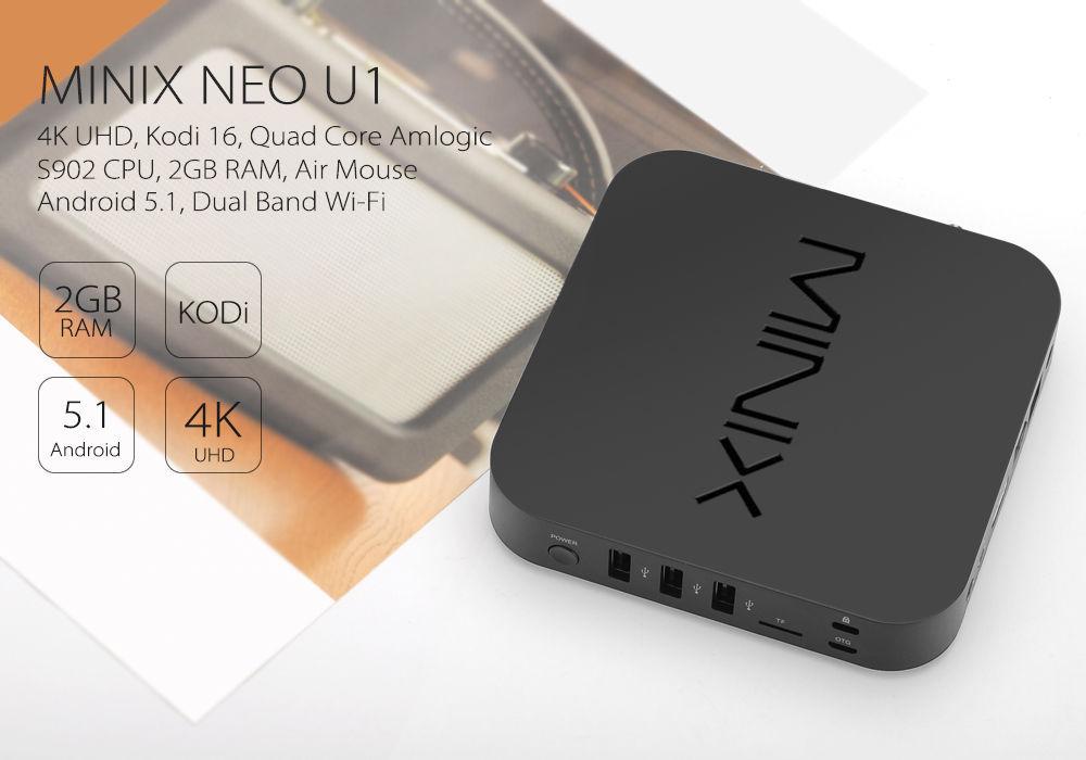 MINIX NEO U1 TV Box - 4K UHD, Kodi 16, Quad Core Amlogic S905 CPU, 2GB RAM
