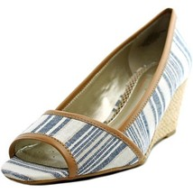 Easy Spirit Brigette Peep-Toe Espadrille Pumps Sandals - Blue White Stri... - $41.14