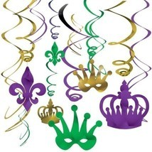 Mardi Gras Foil Swirl 12 pc Value Pack Hanging Decorations  Purple Green Gold - $5.63