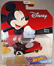 2018 Hot Wheels Disney CHARACTER CARS #1/6 MICKEY MOUSE Red/Black wWht/Yell Whls - $11.00