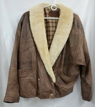 Vintage Cayenne Brown Leather Jacket W/ Faux Fur Collar EUC Sz LG 0516 - $50.26