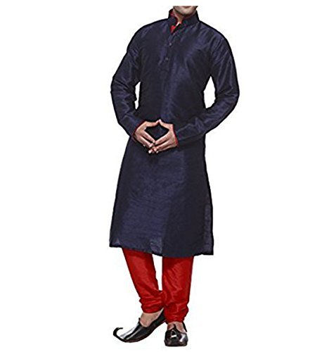 Primary image for Royal Kurta Men's Designer Silk Blend Kurta &Churidhar 38 Blue