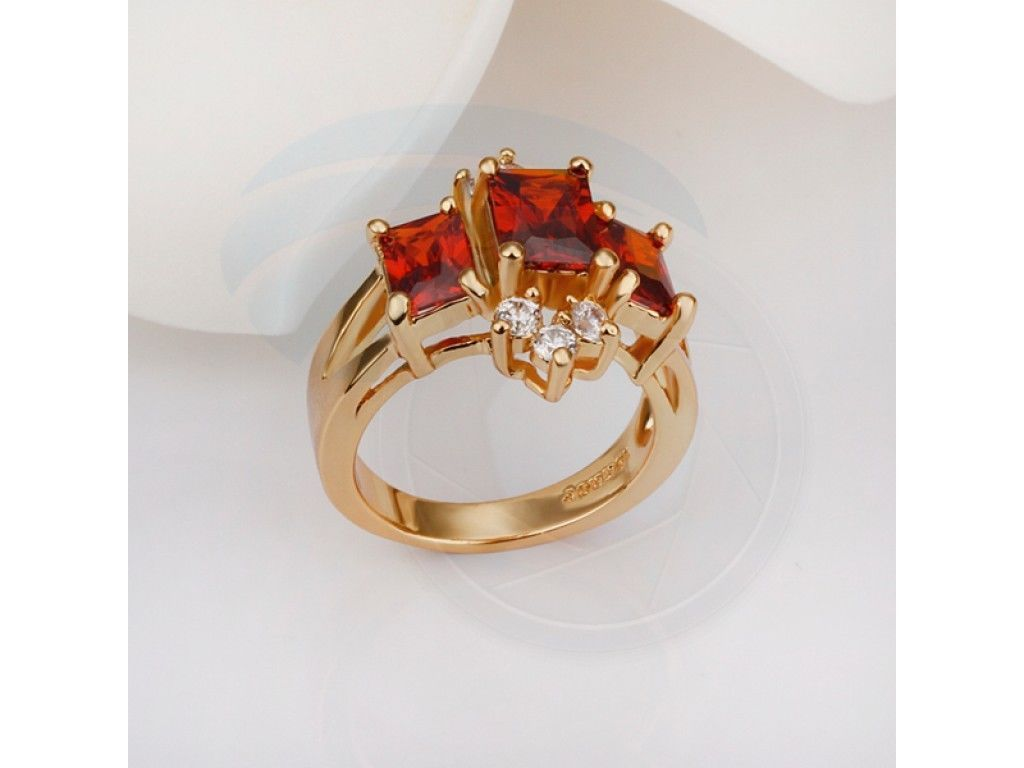 Size 8 Brass 18K Yellow Gold Plated Zircon Crystal Lady Women Ring