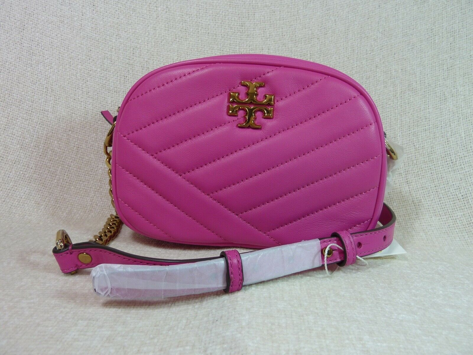 NWT Tory Burch Crazy Pink Kira Chevron Small Camera Bag $358