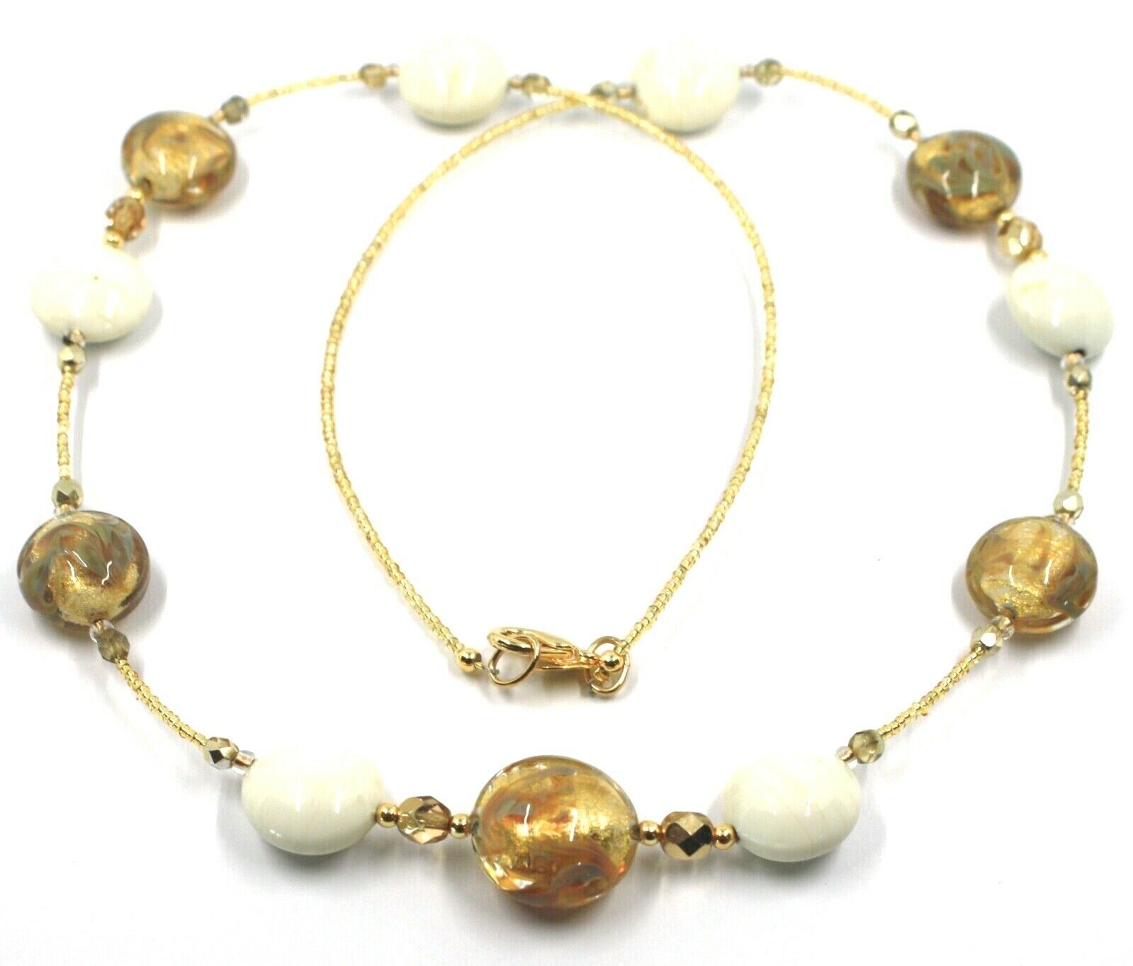 """LONG NECKLACE WHITE YELLOW MURANO GLASS DISC GOLD LEAF, 70cm, 27.5"""" ITALY MADE"""