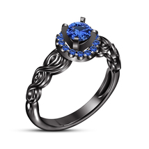 Womens Halo Engagement Ring Blue Sapphire 14k Black Gold Finish Solid 92... - $87.68