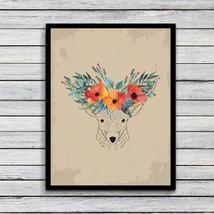 Jiubai-900d Floral Vintage Deer head Art Print painting - $17.95