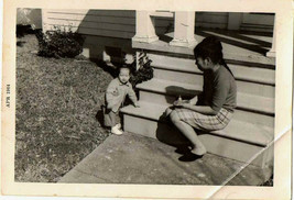 Old Antique Vintage Photograph Asian Baby with Mom on Step 1964 - $6.93