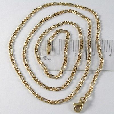 18K GOLD FIGARO CHAIN 2 MM WIDTH 24 INCH LENGTH ALTERNATE NECKLACE MADE IN ITALY