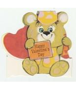 Vintage Valentine Card Bear Holds Neck Tie 1982 Die Cut - $6.92