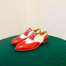 Handmade Men's Red and White Wing Tip Brogues Dress/Formal Oxford Leather Sh image 2