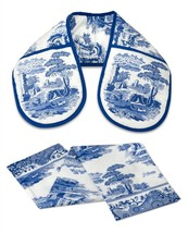 Classic Blue Italian Floral Blue White Double Oven Glove & Tea Towel Set - $17.54