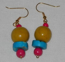 Handcrafted Wooden Beaded Yellow Blue Pink Dangle Earrings - $8.50