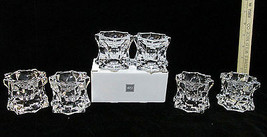 Mikasa Candle Holders Clear Crystal Glass Sparkling Star Tea Lights Set ... - $20.68