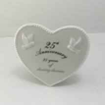 RUSS Porcelain Anniversary Plaque 25th 60th 1st Anniversary HEART White ... - $13.44