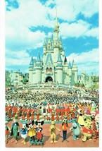 Walt Disney Postcard Cinderella Castle Pooh Tigger Mickey Minnie Vintage - $9.89