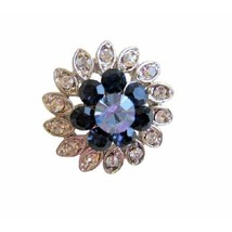 Montana & Lite Sapphire Crystal Simulated Diamond Silver Plated Brooch - $7.99
