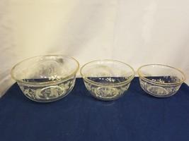 Set of 3 Etched Grapes Clear Glass Bowls Gold Trim Vintage Estate Collec... - $7.37