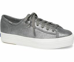 Keds WH58981 Women's Triple Kick Glitter Suede Platform Sneaker Gray, 11... - $49.45