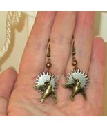 Steampunk Gear Disc Earrings Celestial with Moving Bronze Bird Dangles  e3 - $11.99