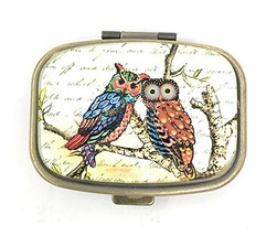 Funky Owls Pill Box - 2 Compartments - Brass and Glass - $20.07